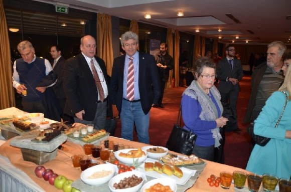 """President of the Hotel Owners Association of Magnesia, Kostas Leventis, with the association's vice president, Giorgos Zafeiris, at the presentation of the """"Greek Breakfast of Magnesia"""" held in early December at the Domotel Xenia Volou hotel."""