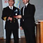 Ierissos Port Authority Commander Thomas Tsialos (left) receiving the award on behalf of the Chalkidiki Port Authority by the consultant of the Chalikidiki Hotel Association, Thomas Aslanidis.