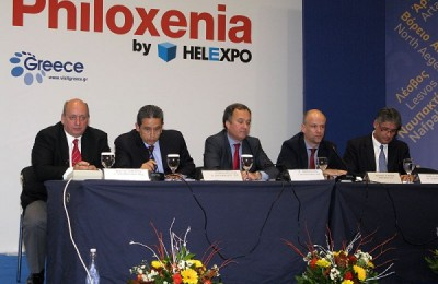 The Hellenic Federation of Hoteliers' President Yiannis Retsos (second from right) with vice presidents Kostas Leventis, Andreas Metaxas, Aristotelis Thomopoulos and secretary general, Andreas Fiorentinos.