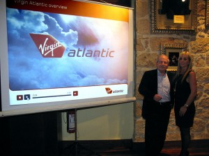 Dinos Frantzeskakis, managing director of Discover the World Marketing, and Electra Giouri, Greece and Cyprus sales manager for Virgin Atlantic Airways.