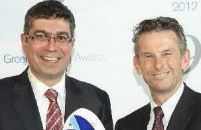 CEO of Attica Group Spyros Paschalis (left) receives the