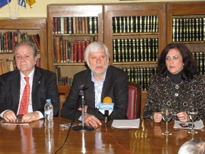 """Our presence here means determination and it is a comprehensive plan for how Greece can address today's significant problem,"" Peloponnese Prefect Petros Tatoulis (center) said during a presentation of the exhibition of traditional Peloponnese culture and tourism products prior to the launch."