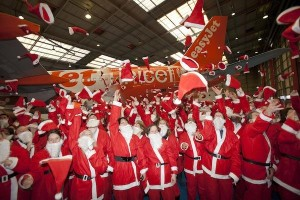 Santa's unveil UNISEF branded easyJet aircraft. Photo credit: Timothy Anderson.