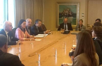 Meeting between Greek Tourism Minister Olga Kefalogianni and Germany's federal deputy labor minister, Hans-Joachim Fuchtel*.