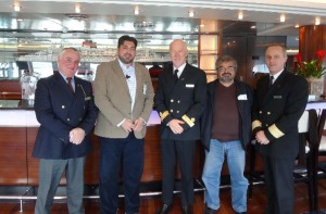 """""""Heraklion Port is always ready,"""" was the reply of, Yiannis Bras (second from left), the port's CEO, when Cunard Cruise Line's """"Queen Mary 2"""" requested permission to stopover at the port."""