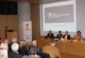 "Presentation of the """"2013 Year Of Gastronomy In Santorini"" initiative by Thira Mayor Anastasios Nikolaos Zorzos (first from left)."