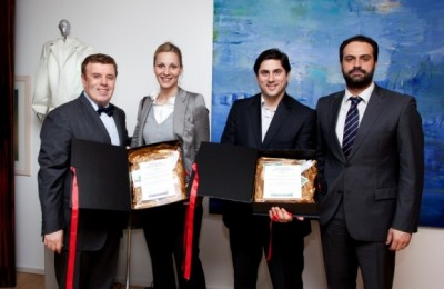 Manessis Travel's president, Andreas Manessis (left), and managing director, Aggelos Lambrou (right), with two winners of the Top 10 hotel awards for 2013. Mr. Lambrou is the is the inspirer of the award concept.
