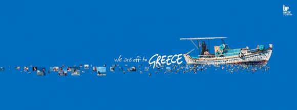 """For the next two weeks, Britons will see a group of Greek fishermen on a boat, the Greek sea, the Greek sky and many faces, all units of a country that has strength. """"We are off to Greece"""" is the message of the Up Greek Tourism's third billboard campaign."""