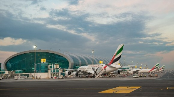 An Emirates A380 at the new Concourse A.