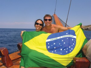 Brazilian tourists on Milos, Cyclades - 2010.