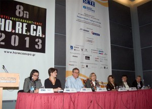 """Session 2: """"Using brand products to boost tourism"""" - Panagiota Vlahou (FEREIKOS HELIX), Georgia Karouki (Metaxa, WS. Karoulias), Panagis Manouilidis (Odysea Ltd.), Meropi Papadopoulou (Kathimerini), Salomi Stavridou (KAYAK), Zafiris Trikalinos (Trikalinos company), Lefteris Platanisiotis (Gaia Food) and Aggelos Rouvalis (Greek Wine Federation)."""