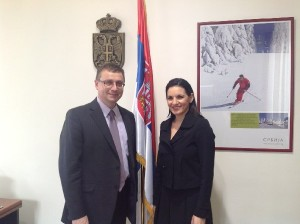 Serbian State Secretary for Tourism Goran Petkovic and Greek Tourism Minister Olga Kefalogianni in Belgrade.
