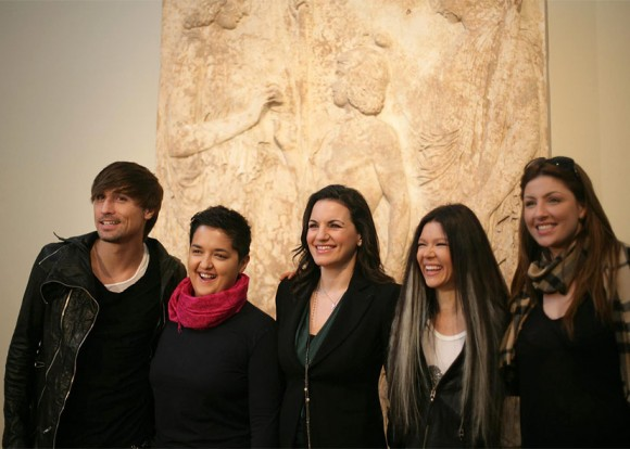 Greek Tourism Minister Olga Kefalogianni (center) with previous Eurovision song contest winners Dima Bilan (Russia), Marija Serifovic (Serbia), Ruslana (Ukraine) and Greek-Swedish Elena Paparizou (Greece) at the National Archaeological Museum.