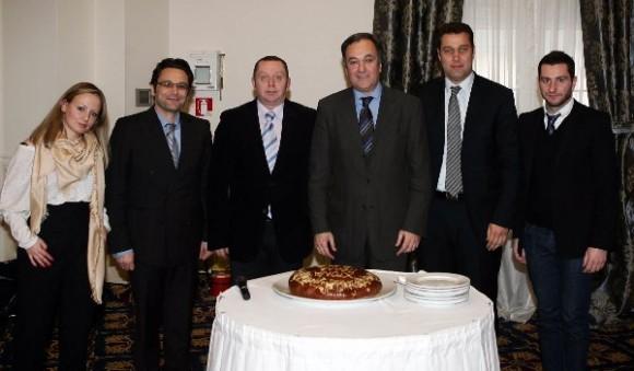 The Thessaloniki Hotels Association Board of Directors: Evelyn Christopoulou (member), Fotis Papadopoulos ( treasurer), Demetris Mousiadis (secretary), Aristotelis Thomopoulos (president), Mihalis Chrysochoidis (member) and Panagiotis Boutsioukis (curator).