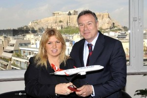 General Director of Turkish Airlines in Greece Gulay Ozturk with Attica prefect Yiannis Sgouros dusring a meeting recently held in Athens.