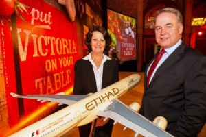 James Hogan, President and Chief Executive Officer of Etihad Airways, and the Hon. Louise Asher MP, Victoria's Minister for Tourism and Major Events and Minister for Innovation, Services and Small Business.