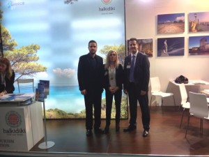 The stand of the Halkidiki Tourism Organization at the TTR Bucharest trade show was represented by the organization's president, Grigoris Tassios (right) and many professionals from the destination.