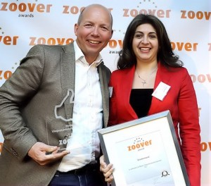 Zoover's CEO Stephan Bosman and GNTO Director for The Netherlands Eleni Skarveli. Photo: opreisgids.nl