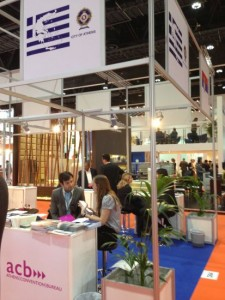 Chairman of the Athens Development and Destination Management Agency, Yiorgos Broulias, at ACB's stand at the GIBTM 2013 exhibition.