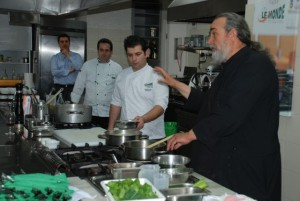 "During the gastronomy seminar, Monk Epifanios o Milopotaminos prepared two dishes from the theme menu ""Monastic Cuisine"" that will be presented during the festival from 27 May to 2 June."