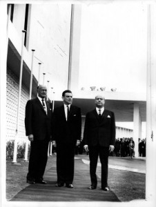 20 April 1963 - Conrad Hilton inaugurates the Hilton Athens with Greek co-ordinating minister, Panagiotis Papaligouras, and the president of Ioniki company, Stratis Andreadis.