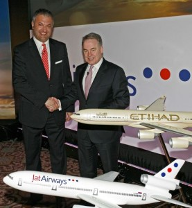 JatAirways' Chief Executive Officer Vladimir Ognjenović and Etihad Airways President and Chief Executive Officer James Hogan.