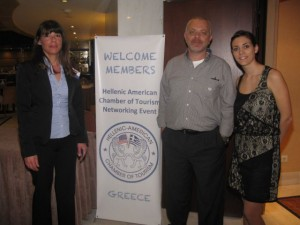 "The Hellenic American Chamber of Tourism's Jeanette Priovolou, George Trivizas and Anais Dietrich during the ""one to one meeting"" scheduled event where American tourism professionals held business meetings with Greek travel agents and hoteliers, yesterday, 3 April, at the Zafolia Hotel in Athens."