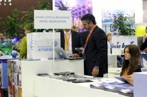 The Athens Development and Destination Management Agency participated in this year's MITT exhibition with a joint stand with the Athens-Attica & Argosaronic Hotel Association. Pictured is the agency's press officer George Angelis.