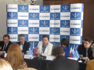 Labirint's Tatiana Zotova speaking to Russian journalists at a press conference on Corfu.