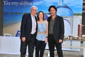 Nikos Kaloyiannis, president of Plomari Ouzo Distillery; Tina Toupai, general director of Yalos branding company; and Greek photographer Vassilis Vrettos.