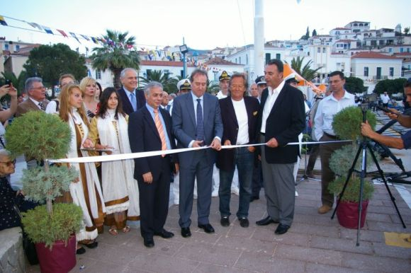 The president of the Greek National Tourism Organization, Christos Pallis, cutting the inauguration ribbon of East Med Yacht Show – Poros 2013. He was accompanied by Hellenic Yacht Brokers Association President Giorgos Kollintzas, Hellenic Professional Yacht Owners Association President Antonis Stelliatos and Poros Mayor Dimitris Stratigos.