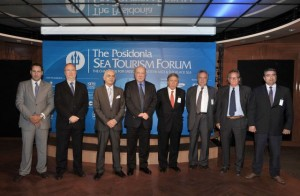 Theodoros Vokos, project director of Posidonia Exhibitions; Stavros Chatzakos, president of MedCruise; Anastasios Liaskos, secretary general of Greek Tourism Ministry; George Anomeritis, president and CEO of Piraeus Port; George Gratsos, President of the Hellenic Chamber of Shipping; Theodoros Kontes, president of the Shipowners Association Cruise Ships and Shipping Agencies; Antonis Steliatos, president of the Hellenic Professional Yacht Owners Association; and Stavros Katsikadis, president of the Greek Marina Union.