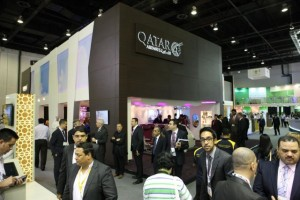 Qatar Airways stand at the Arabian Travel Market (ATM). The airline's Dreamliner Business and Economy Class seats are a key feature on its exhibition stand at ATM this week providing travel professionals from around the world with an opportunity to sample the seats and amenities.