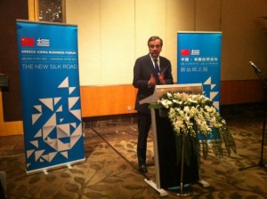 Greek Prime Minister Antonis Samaras speaking during a dinner for the Greek delegation at the Westin Beijing Financial Street.