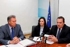 Attica Governor Yiannis Sgouros, Greek Tourism Minister Olga Kefalogianni and Greek Interior Minister Evripidis Stylianidis.