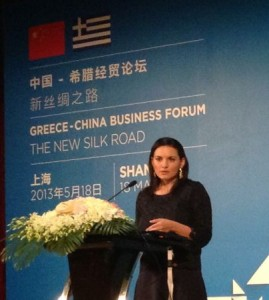 Greek Tourism Minister Olga Kefalogianni at the Greece-China Business Forum - The New Silk Road held on 18 May in Shanghai, China.