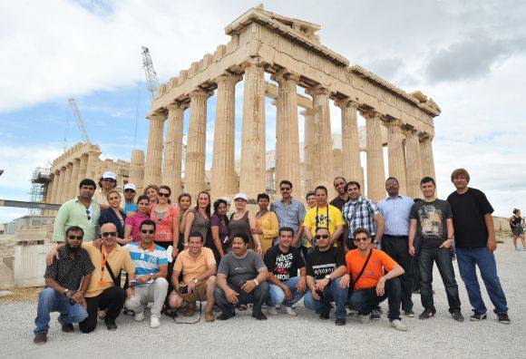 Foreign travel agents at the Acropolis in Athens.