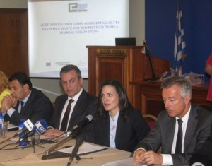 Greek Labor Minister Yiannis Vroutsis, Greek Tourism Minister Olga Kefalogianni and SETE President Andreas Andreadis.