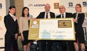 Greek Tourism Minister Olga Kefalogianni and Aegean Airlines President Theodoros Vasilakis honor the Individual Professional Winner of the tournament Nicolo Gaggero (center).