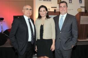 Aegean Airlines President Theodoros Vasilakis, Greek Tourism Minister Olga Kefalogianni and TEMES President Achilleas Konstantakopoulos.