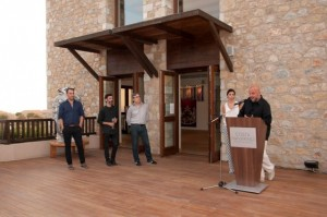 """Launch of the new contemporary art platform """"Costa Navarino: Engaging Art"""": Constantza Sbokou-Konstantakopoulou with the exhibition's four in-residence artists (from left) Dionysis Christofilogiannis, Konstantinos Ladianos, Jeffrey Apoian and Dimitris Antonitsis."""