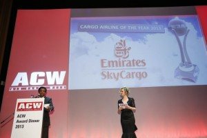 "Pradeep Kumar, Emirates Senior Vice President - Cargo Revenue Optimisation and Systems received the ""Cargo Airline of the Year 2013"" award in Munich."