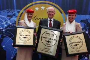 "Emirates' Tim Clark, flanked by Emirates Cabin Crew collects three awards at today's World Airline Awards including ""World's Best Airline,"" ""Best Middle East Airline"" and for a record ninth year in a row, ""World's Best Inflight Entertainment."""