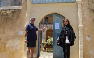 Antonis Vordonis, owner of Poseidonion Grand Hotel and Katerina Mousbeh, managing director of MidEast Travel welcoming their guests to the Spetses Museum.