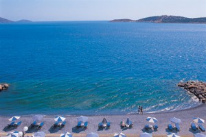 Ammoudi Beach as seen from the Coral Hotel.