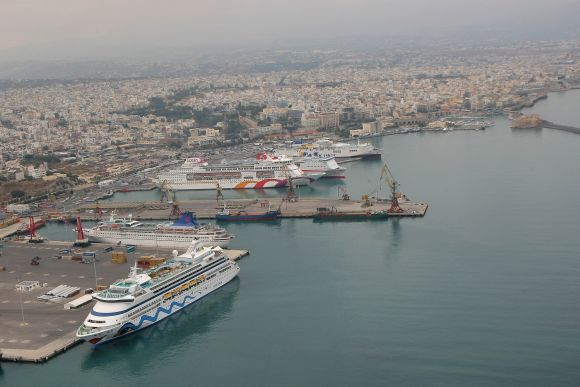 Heraklion Port looking west.