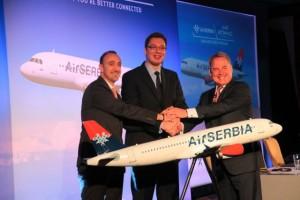 Dane Kondic, CEO Air Serbia; Aleksandar Vucic, Deputy Prime Minister of the Serbian Government, James Hogan, President and Chief Executive, Etihad Airways.