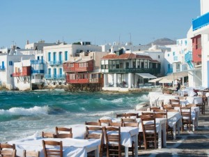 The island of Mykonos leads hotel price increases this month, data shows.