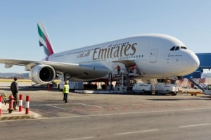 Emirates A380 at Athens International Airport.
