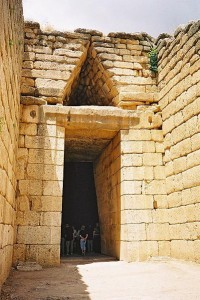 Entrance to the Treasury of Atreus, or Tomb of Agamemnon in Mycenae.